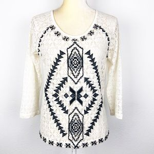 Free People White Black Embroidered Top Blouse